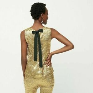 NWT J Crew Collection $138 Bow Back Blouse Gold XL